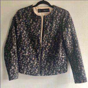 Zara Textured Lace Zip Up Jacket